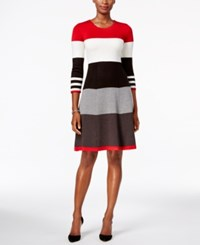 Jessica Howard Striped Fit And Flare Sweater Dress Red White Gray Black