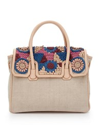 Sam Edelman Sylvia Canvas And Leather Convertible Satchel Nude Multi