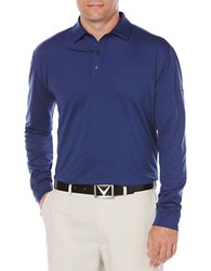 Callaway Golf Performance Heathered Long Sleeve Polo Blueprint