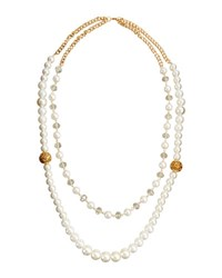 Fragments For Neiman Marcus Double Row Pearly Crystal Beaded Necklace Gold