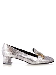 Erdem Berry Leather Loafers Silver