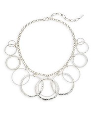 Saks Fifth Avenue Hammered Circle Bib Necklace Silver