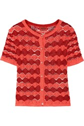 Missoni Crochet Knit Cardigan Red