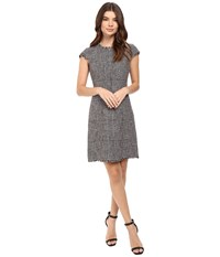 Rebecca Taylor Houndstooth Dress Teaberry Combo Women's Dress Pewter