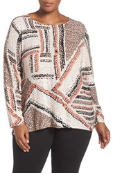 Nic Zoe Plus Size Women's 'Dotted Lines' Print Top Multi