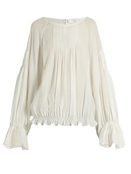 Chloe Lace Trimmed Silk Crepe De Chine Blouse Cream