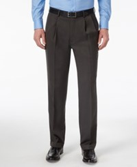 Louis Raphael Men's Straight Fit Double Pleated Dress Pants Charcoal
