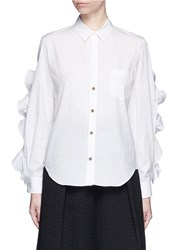 Toga Archives Cutout Ruffle Sleeve Poplin Shirt White