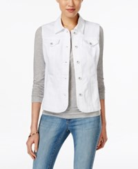 Charter Club Denim Vest Only At Macy's White Wash
