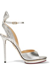 Charlotte Olympia Wallace Bow Embellished Lame Sandals Silver