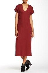 Go Couture Hooded Thermal Washed Sweater Dress Red