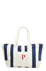 Cathy's Concepts Personalized Stripe Canvas Tote Blue Navy P