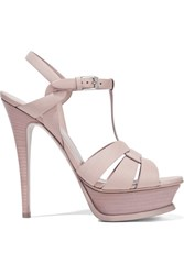 Saint Laurent Tribute Leather Platform Sandals Pastel Pink