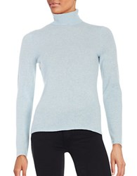 Lord And Taylor Petite Cashmere Turtleneck Sweater Sky Blue Heather