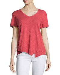 Jethro Slouchy Asymmetric V Neck Top Poppy