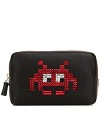 Anya Hindmarch Space Invaders Embellished Satin Pouch Black