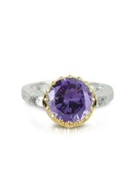 Try Amethyst Cubic Zirconia Sterling Silver And Rose Gold Ring Purple