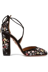 Aquazzura Karlie Embroidered Suede Pumps Black
