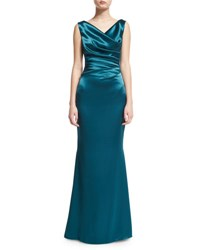 Talbot Runhof Kombo Sleeveless Draped Satin Gown Teal