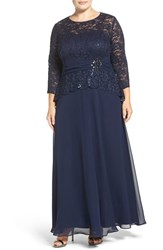 Alex Evenings Plus Size Women's Embellished Lace And Chiffon Gown