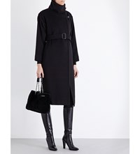 Max Mara Funnel Neck Wool And Cashmere Blend Coat Black