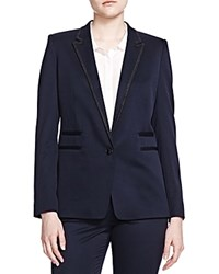 The Kooples Embroidered Trim Blazer Navy
