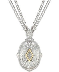 Macy's Diamond Pendant Necklace In 14K Gold And Sterling Silver 1 6 Ct. T.W. No Color