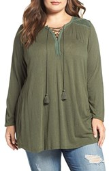 Lucky Brand Plus Size Women's Lace Front Peasant Top Thyme