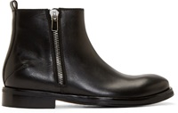 Cnc Costume National Black Leather Zip Boots