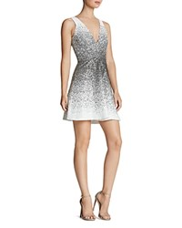 Dress The Population Carrie Ombre Sequin Fit And Flare White Black