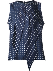 Martin Grant Polka Dot Sleeveless Top Blue