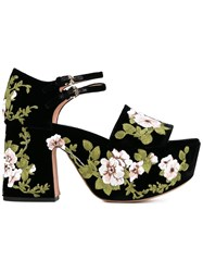 Rochas Floral Embroidered Platform Sandals Black