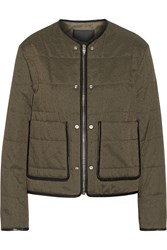 Alexander Wang Leather Piped Quilted Cotton Blend Jacket Green