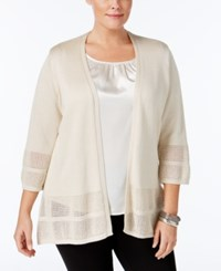Jm Collection Plus Size Open Knit Cardigan Only At Macy's Flax