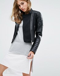 Noisy May Leather Look Wool Mix Biker Jacket Black
