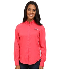 Columbia Tamiami Ii L S Shirt Tango Pink Women's Long Sleeve Button Up Red