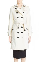 Women's Burberry London 'Sandringham' Cashmere Trench Coat White