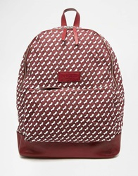 Jack Wills Heritage Canvas Backpack With Leather Trims Horseprint