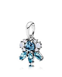 Pandora Design Pendant Sterling Silver And Glass Patterns Of Frost Blue Silver