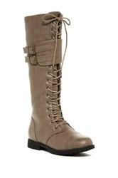 West Blvd Shoes Manila Faux Leather Military Lace Up Boot Beige