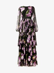 Dolce And Gabbana Tulip Print Tiered Silk Long Dress Black Multi Coloured Purple