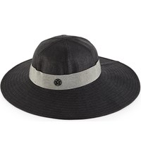Maison Michel Wide Brim Straw Fedora Hat Black