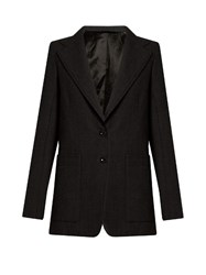Christophe Lemaire Notch Lapel Single Breasted Wool Jacket Dark Grey