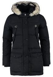 Schott Nyc Camille Down Coat Navy Blue Black Denim