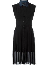 Diesel Denim Collar Pleated Dress Black