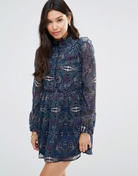 Millie Mackintosh Ruffle Long Sleeve Dress In Paisley Paisley Print Blue