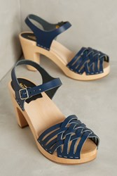 Anthropologie Swedish Hasbeens Woven Sandal Clogs Navy