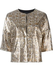Steffen Schraut Snakeskin Effect Sequin Jacket Brown