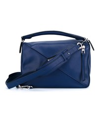 Loewe Calf Leather Puzzle Bag Navy Blue Linen