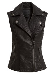 Max Studio Sleeveless Leatherette Biker Jacket Black